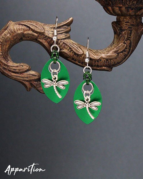 Green Dragonfly Scale Earrings
