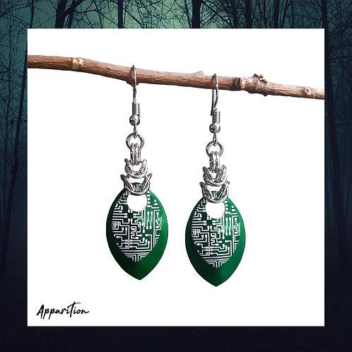 Green Cyberpunk Scalemaille Earrings