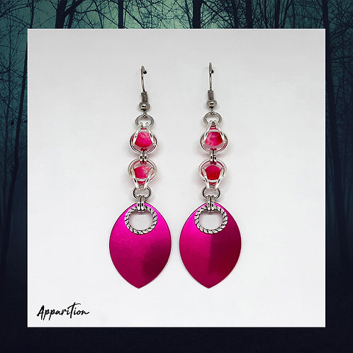 Pink La Rosa Chainmaille Earrings