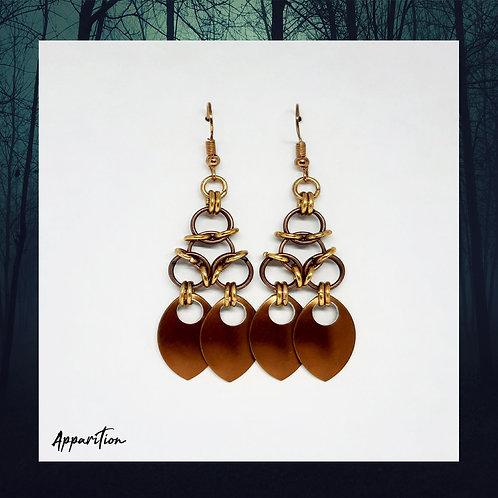 Gold Tone & Bronze Aura & Scale Earrings