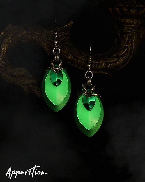 Gemini Green Scalemaille Earrings