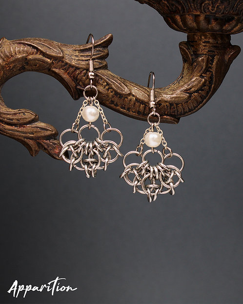 Celtic Pearl Chainmaille Earrings