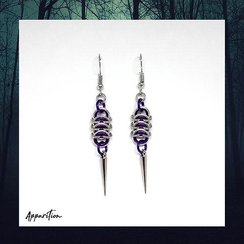 Purple Wurm Chainmaille Earrings