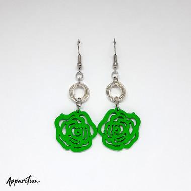 Lumo Green Rose & Mobius Earrings