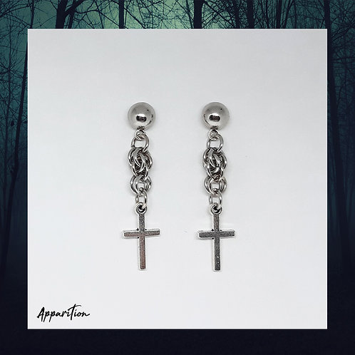 Cross Fieldstone Stud Earrings