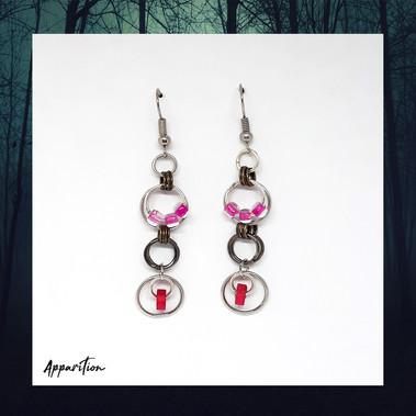 Pink & Red Bead Earrings