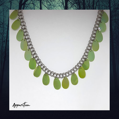 Green Fringe Chainmaille Necklace