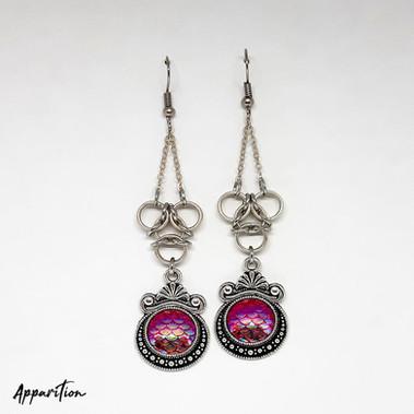 Aura & Pink Scale Mermaid Chain Earrings