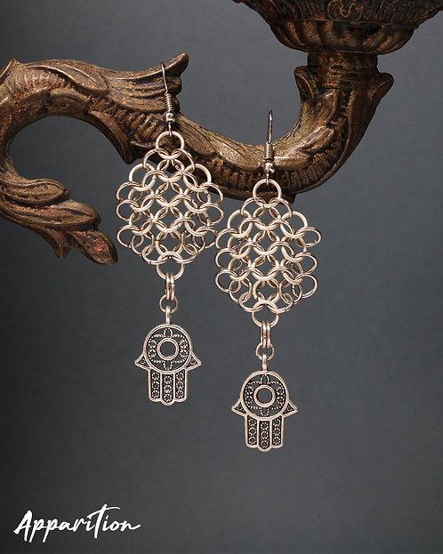 Hamsa Hand Chainmaille Web Earrings