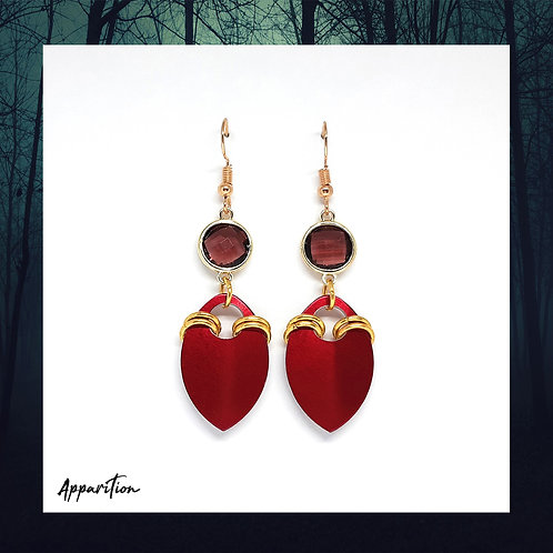 Kagura Red Scalemaille Earrings