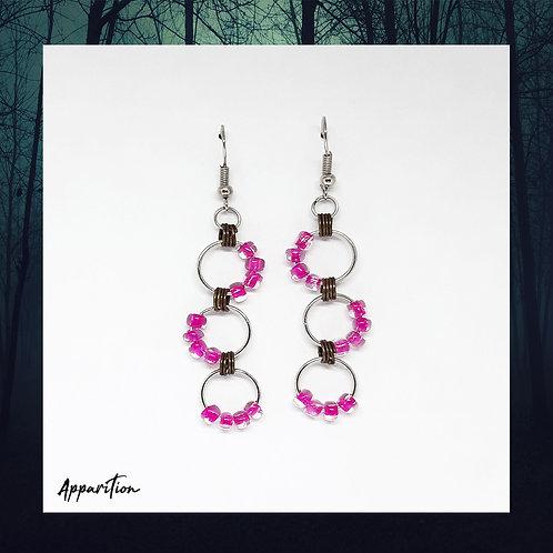 Pink Bead Round Link Earrings