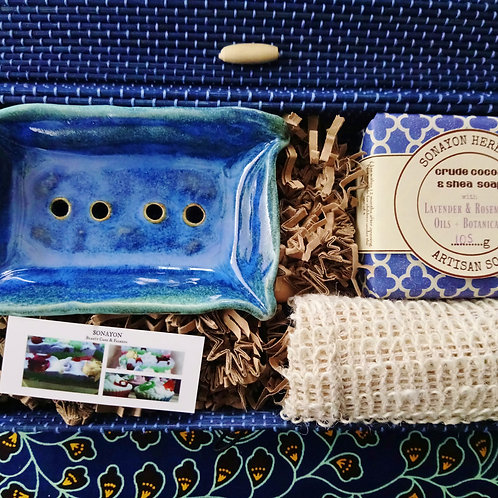 Handmade Ceramic Soap Dish Set (Azure)