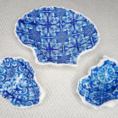 Decoupage Shell Trinket Dish Trio (Orient)