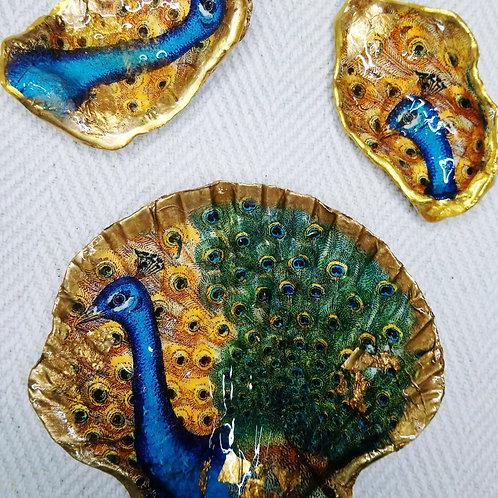 Decoupage Shell Trinket Dish Trio (Peacock)