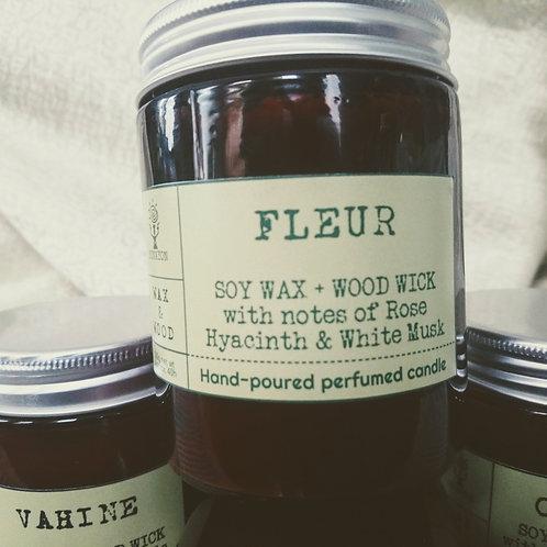 FLEUR Perfumed Wood Wick Candle