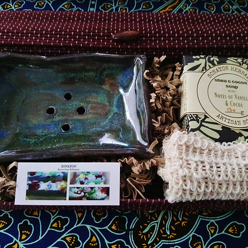 Handmade Ceramic Soap Dish Set (Vulcan)