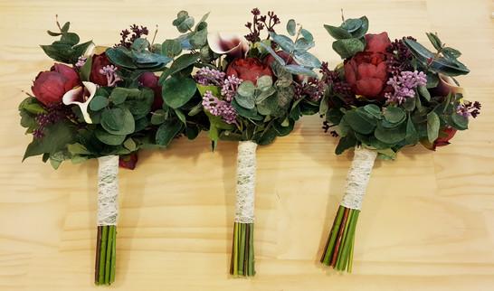 Burgundy Dahlias & Peonies, White/Purple Mini Calla Lilies, Eucalyptus Leaves & PrettyLace Stem