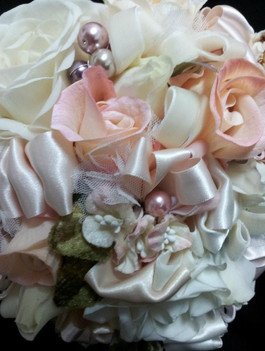 Roses & Buds  Glass Pearls, Lace & Ribbon