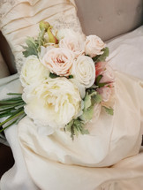 Coral, peach & White  Peonies,Roses & Dusty Miller