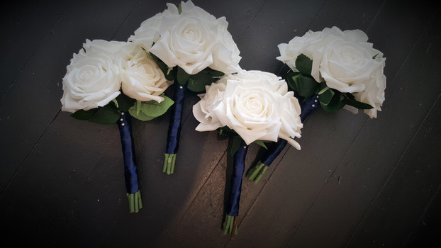 White Real Touch Roses with Diamantes