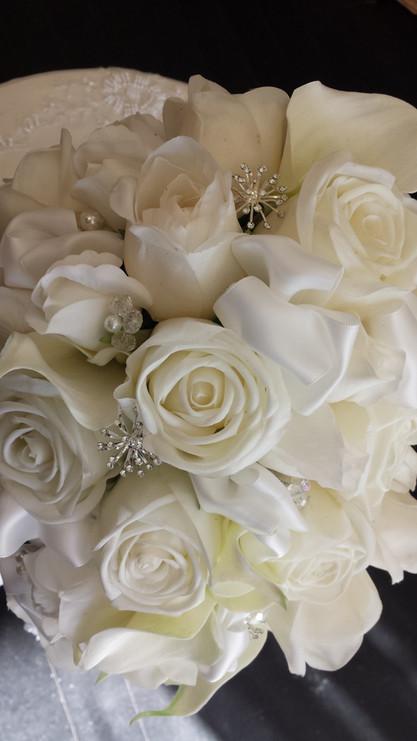   White Roses with Diamantes