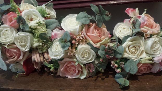 Rosebuds, Snapdragon, Hydrangea, Wax Flower  with Eucalyptus & Lambs Ear Foliage