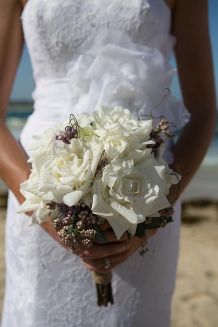 Terri's White White Roses with Berries