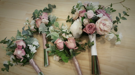 Dusty Pink & Peach Roses with Dusty Miller & Eucalyptus