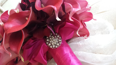 Leanne's Pink Calla Lilies & Roses with Crystals