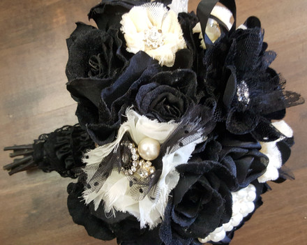 Black Velvet Roses, Diamantes, Lace, Pearls & Crystals