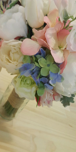 Blue Hydrangea, Green Roses & Dusty Miller