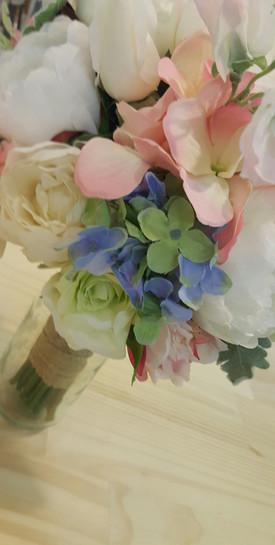 Blue Hydrangea, Green Roses & Dusty Miller