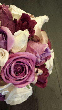 White, Purple, Eggplant Roses & Buds