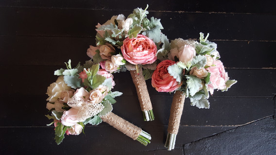 Peonies, Roses & Dusty Miller  with Curatin Lace & Hessian
