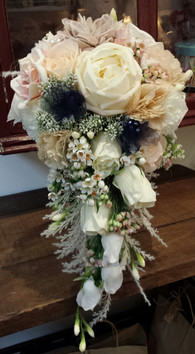 Teardrop mix of Peonies, Roses & Country-mix Fillers with Glass Beads, Pearls, Lace and Tulle