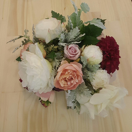   Ivory, Pink,Dusty Pink & Burgundy Roses & Peonies with Dusty Miller