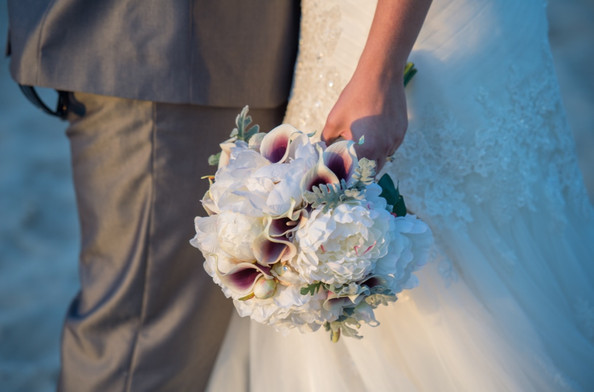 Amy's Purple/White Calla Lilies with White Peonies