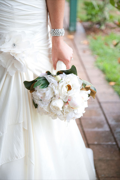 Bianca's White Peonies and Roses with Magnolia Leaves