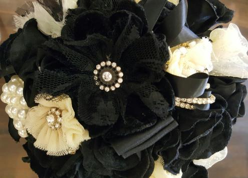 Black Velvet Roses, Diamantes, Lace, Pearls & Crystals