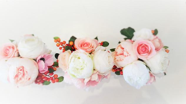 Pinks & Coral Roses,Buds & Peonies with Orange Berries
