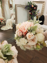 Coral, peach & White  Peonies, Roses & Dusty Miller