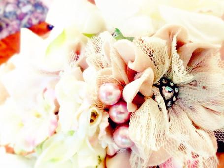 Roses, Hydrangea, Ribbons & Pearls