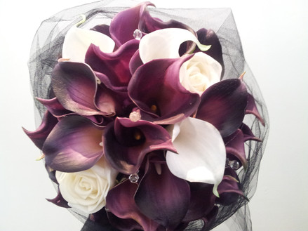 Eggplant Calla Lilies with Crystals & Black Tulle