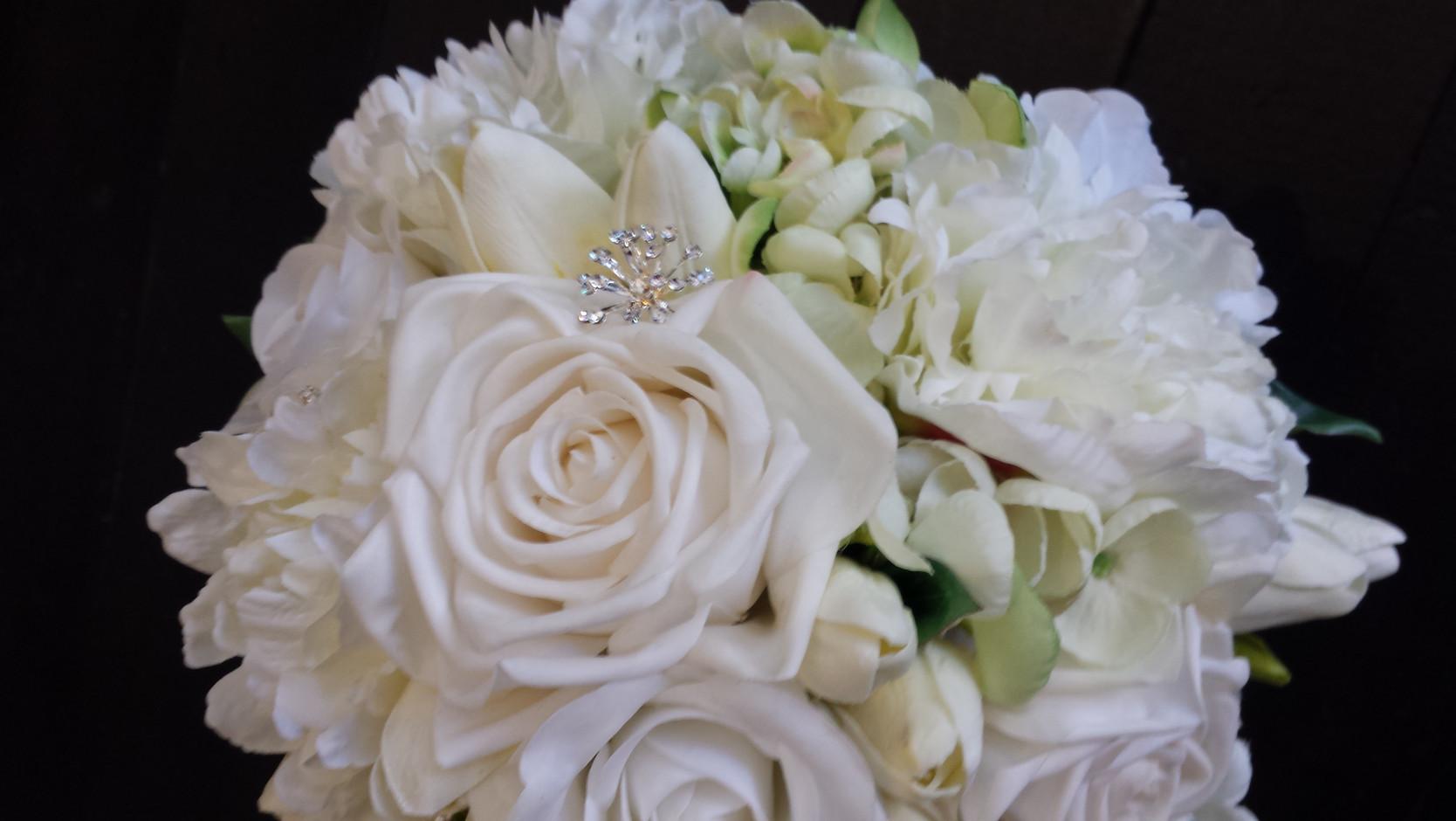 White Roses, Peonies, Tulips & Freesias with Diamantes