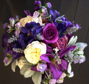 Lilies, Roses, Sweet Pea, Lavender, Lambs Ear & Butterfly Diamantes
