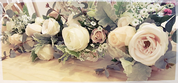 Garden Picked Roses, Dusty Miller and Baby's Breath
