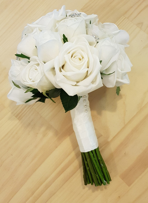 White Real Touch Roses & Diamantes