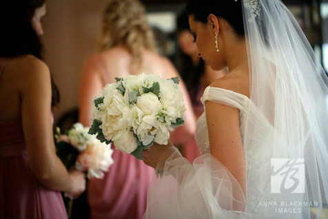 Nicole's White Peonies with Dusty Miller Foliage and Pastel Roses