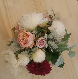 ​  Ivory, Pink, Dusty Pink & Burgundy Roses & Peonies with Dusty Miller