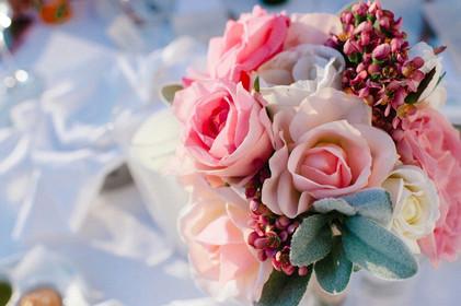 Anita's Pink & White Bridesmaid Roses